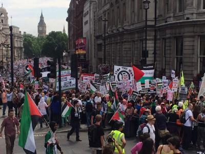 En af sommeren mange demonstrationer imod Israels angreb i Gaza. Her er det i London. Foto fra Twitter.